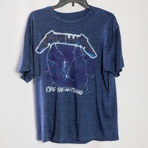 Bravado Shirts - Metallica Ride The Lighting Blue Graphic Tee Shirt